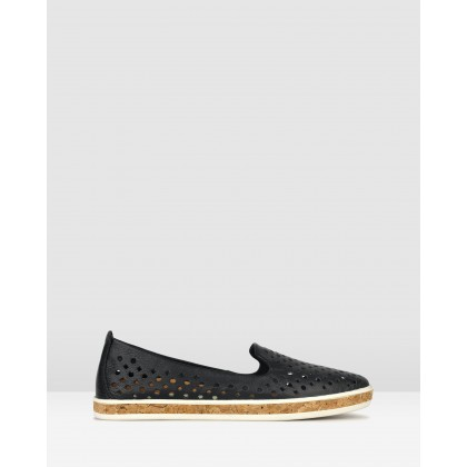 Louis Perforated Leather Loafers Black by Airflex