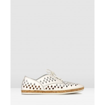 Lola Perforated Leather Lace Up Shoes White by Airflex