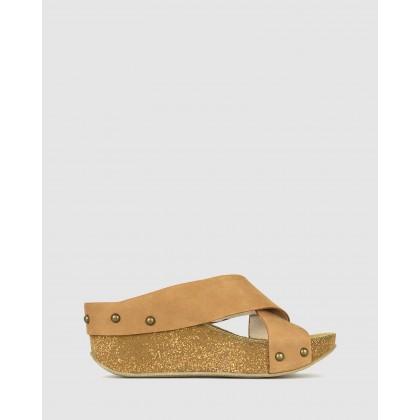 Franca Cork Wedge Sandals Tan by Airflex