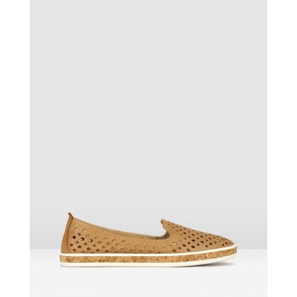 Louis Perforated Leather Loafers Camel by Airflex