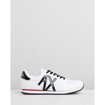 Logo Lace-Up Sneakers White & Black Mirror by Armani Exchange