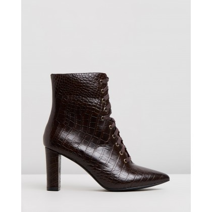 Sylvia Leather Ankle Boots Choc Croc by Atmos&Here