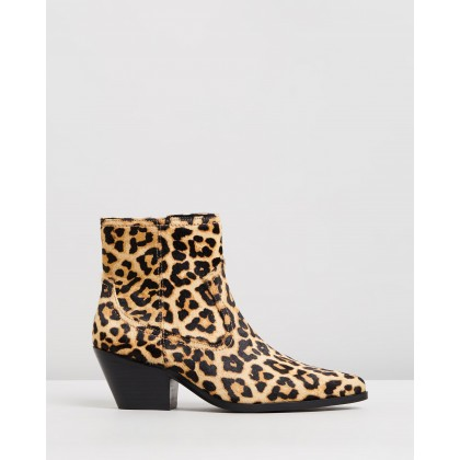Overton Leather Ankle Boots Leopard Ponyhair by Atmos&Here