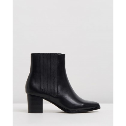 Basia Leather Ankle Boots Black Leather by Atmos&Here