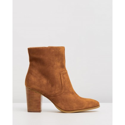 Gisele Leather Ankle Boots Tan Suede by Atmos&Here