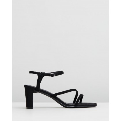 Ava Leather Heels Black Suede by Atmos&Here