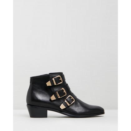 Ainslee Leather Ankle Boots Black Leather by Atmos&Here