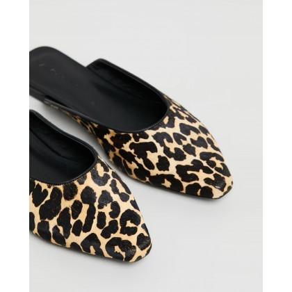 Corelli Leather Flats Leopard Pony Hair by Atmos&Here