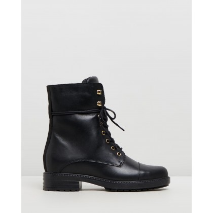 Marlo Leather Hiker Boots Black Leather by Atmos&Here