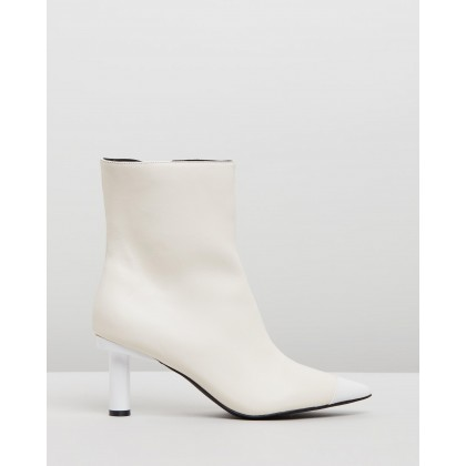 Ines Leather Ankle Boots Ivory & White by Atmos&Here
