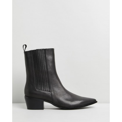 May Leather Ankle Boots Polished Black Leather by Atmos&Here