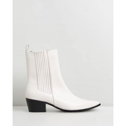 May Leather Ankle Boots Off White Leather by Atmos&Here