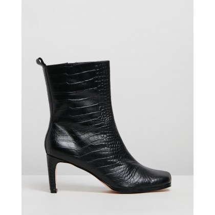Jeanne Leather Ankle Boots Black Croc by Atmos&Here