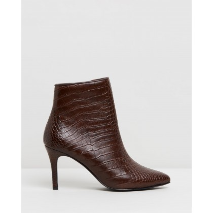 Starley Leather Ankle Boots Choc Croc by Atmos&Here