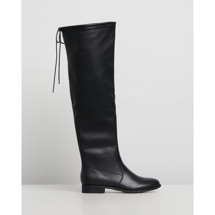 Karli Leather Boots Black Leather by Atmos&Here