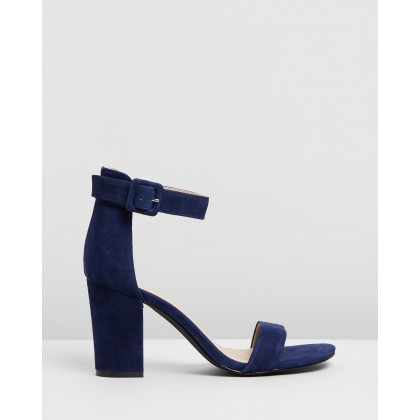 ICONIC EXCLUSIVE - Lisa Leather Block Heels Ink Suede by Atmos&Here