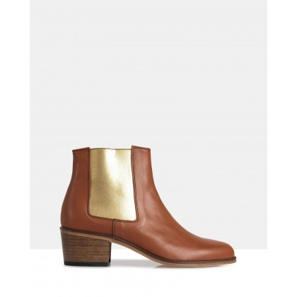 Jerry Leather Chelsea Boots Tan by Therapy