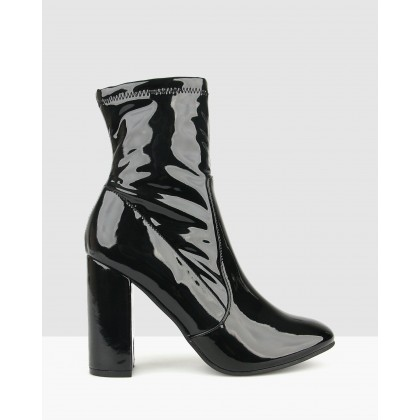 Ginger Sock Boots Black Patent by Betts