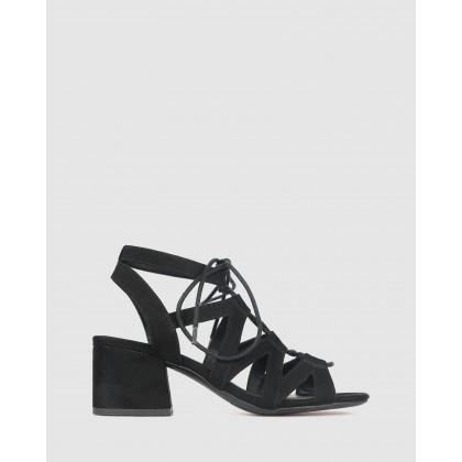 Clove Lace Block Heel Sandals Black by Betts