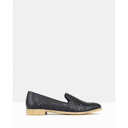 Valentine Perforated Slip-On Shoes Black by Betts