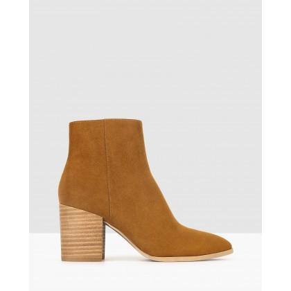 Crash Block Heel Ankle Boots Cognac by Betts