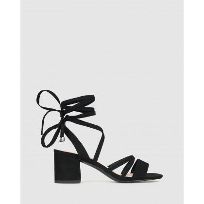Malone Block Heel Sandals Black Micro by Betts