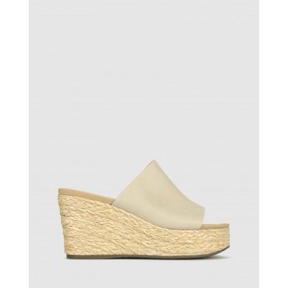 Kaz Platform Wedge Sandals Latte by Betts