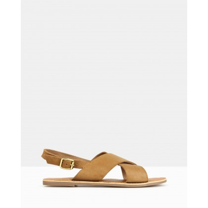 Mate Sling Back Leather Sandals Tan by Betts