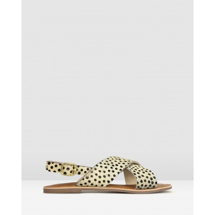 Mate Sling Back Leather Sandals Cheetah Print Pony by Betts