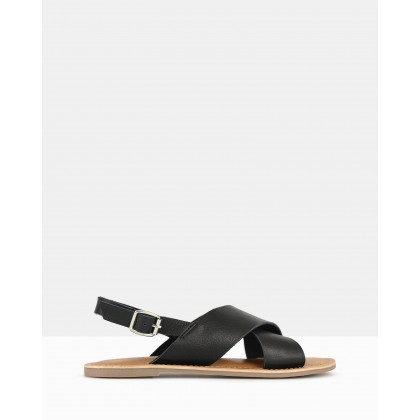 Mate Sling Back Leather Sandals Black by Betts