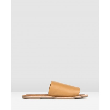 Maui Slip On Leather Sandals Tan by Betts