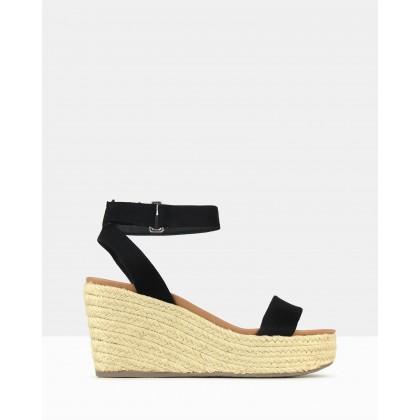 Kayla Wedge Sandals Black by Betts