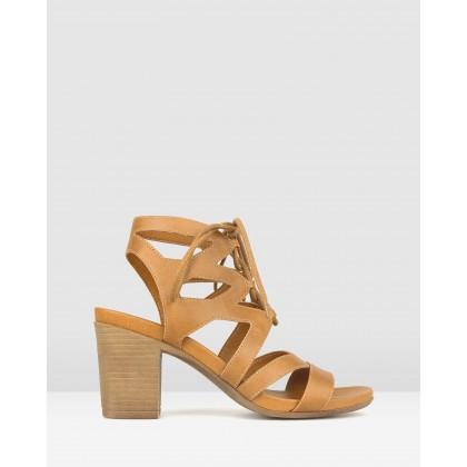 Jupiter Block Heel Sandals Tan by Betts