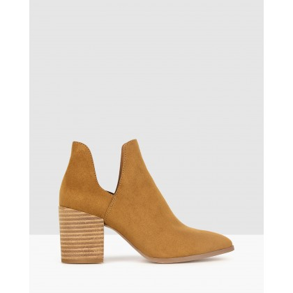 Click Cut Out Block Heel Boots Tan by Betts