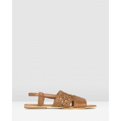Jasper Woven Leather Sandals Tan by Betts