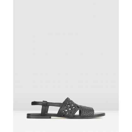 Jasper Woven Leather Sandals Black by Betts