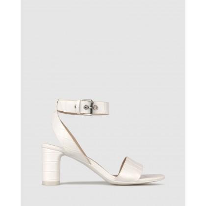 Kiss Block Heel Sandals White Croc by Betts