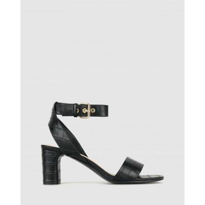 Kiss Block Heel Sandals Black Croc by Betts