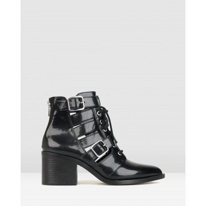 Kilter Pointed Buckle Ankle Boots Black Patent by Betts