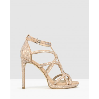 Conspire Diamante Stiletto Dress Sandals Nude by Betts