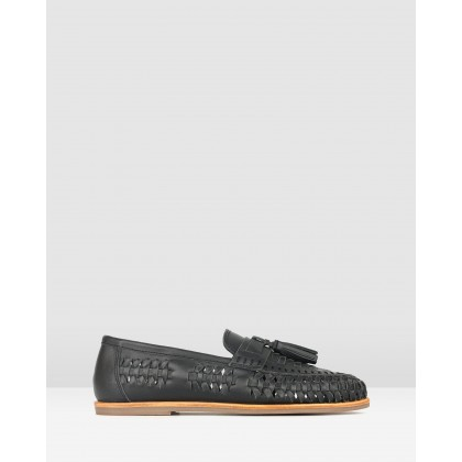 Lad Woven Leather Loafers Black by Betts