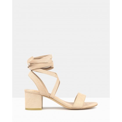 Chyna Lace-Up Block Heel Sandals Nude by Betts