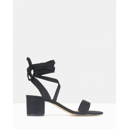 Chyna Lace-Up Block Heel Sandals Black by Betts