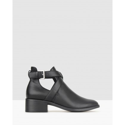 Darcy Cut Out Buckle Ankle Boots Black by Betts