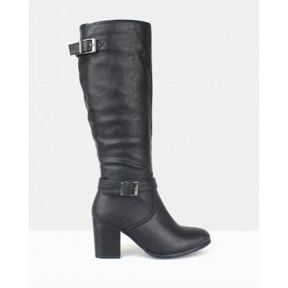 Washington Heeled Long Boots Black by Betts