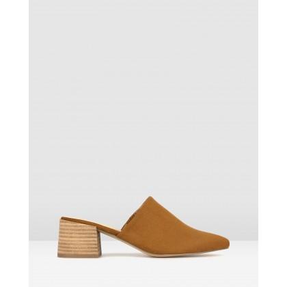 Florence Block Heel Mules Tan by Betts
