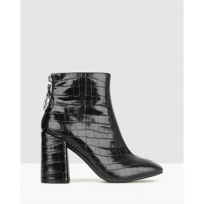 Joker Block Heel Ankle Boots Black Croc by Betts