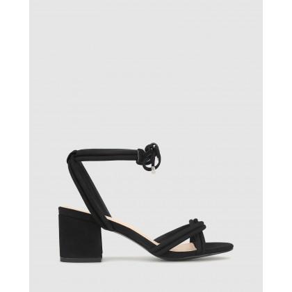 Meisie Block Heel Sandals Black Nub by Betts