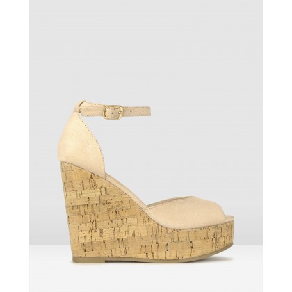 Stack Cork Platform Sandals Nude by Betts
