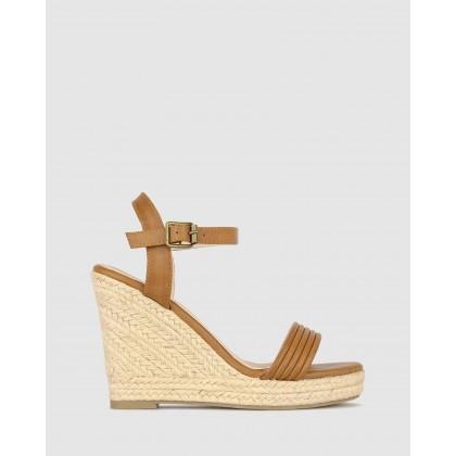 Jaraelle Wedge Sandals Tan by Betts